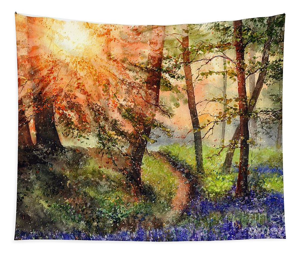 National Park Tapestry featuring the painting Be Happy by Suzann Sines