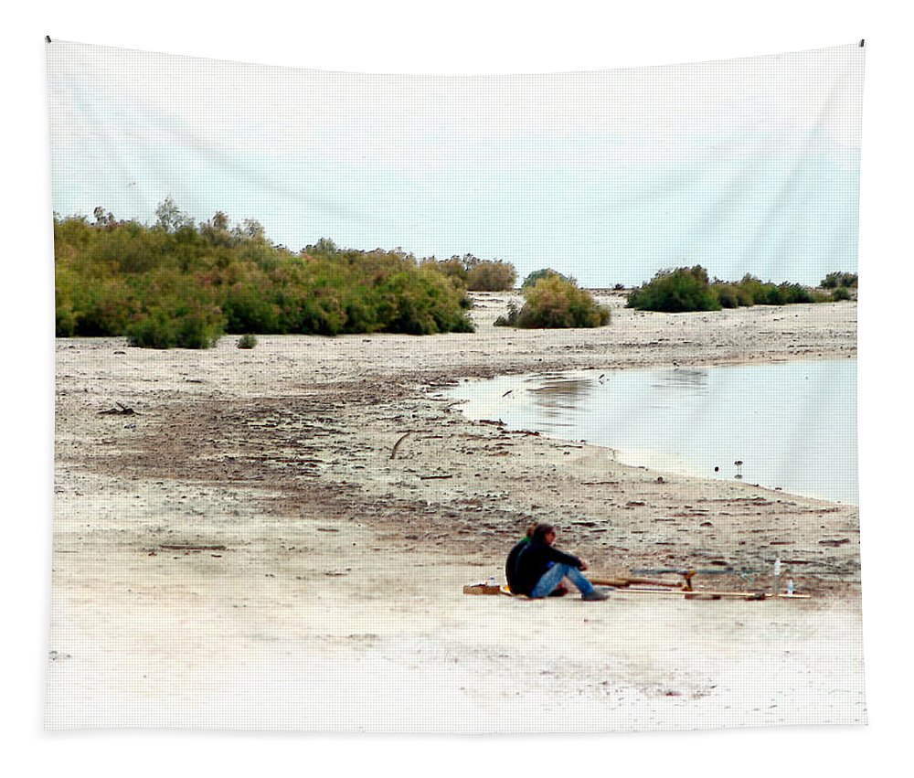 Watercolor Tapestry featuring the photograph Beach Goers-The Salton Sea in Digital Watercolor by Colleen Cornelius