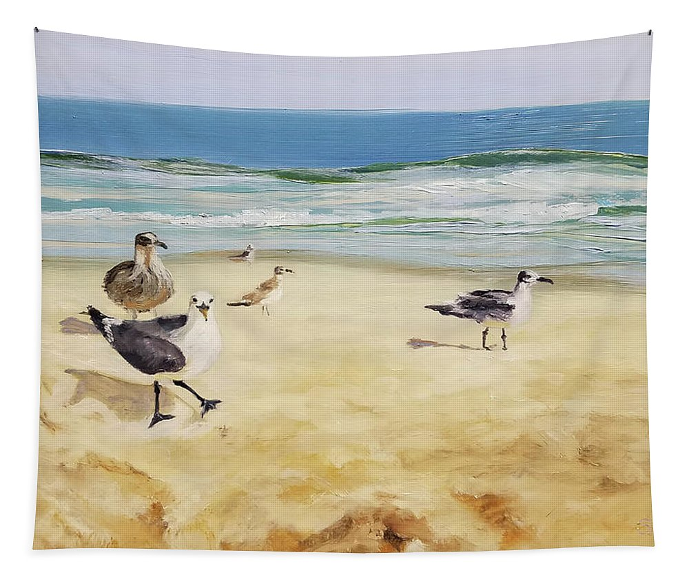 Gull Tapestry featuring the painting Beach Stroll by Susan E Hanna