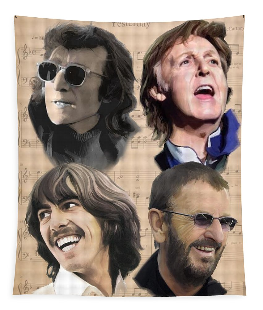 Beatles Tapestry featuring the painting Beatles Yesterday by Paul Tag