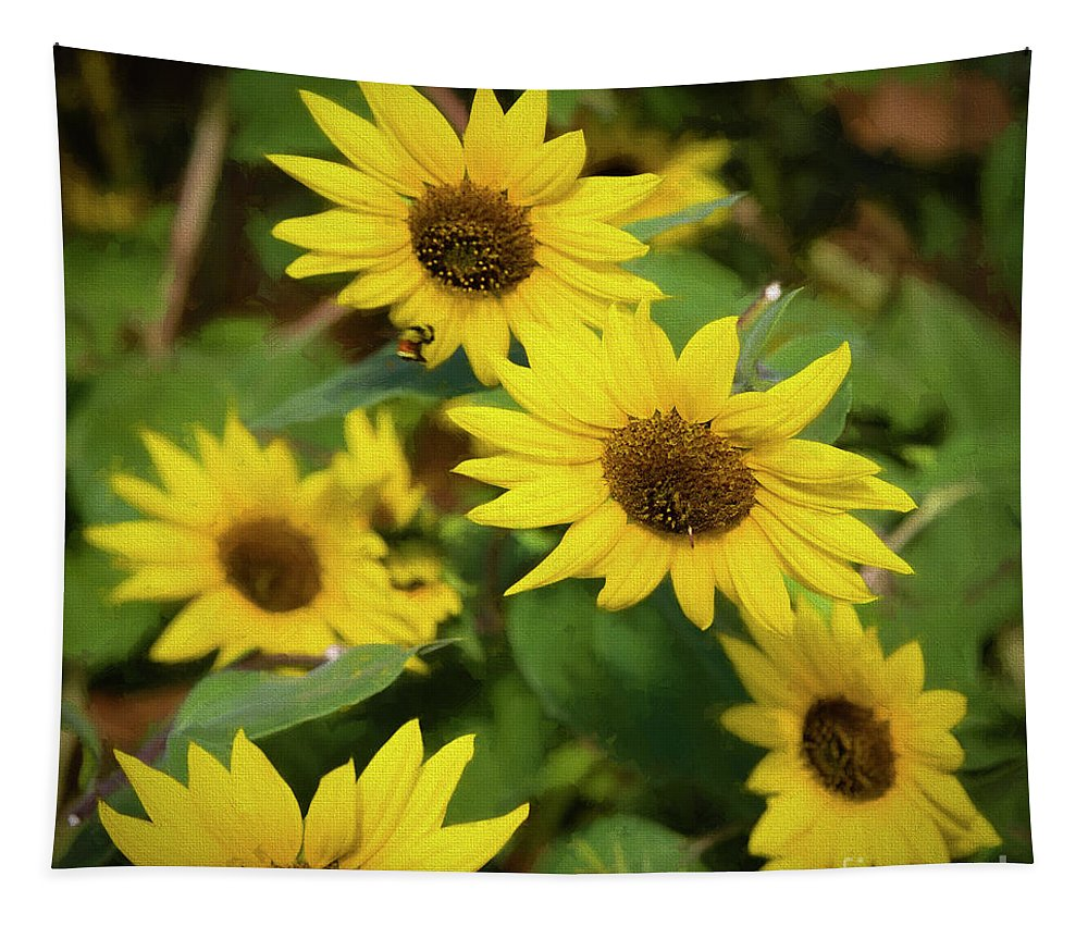 Jon Burch Tapestry featuring the photograph Bee And Sunflowers by Jon Burch Photography