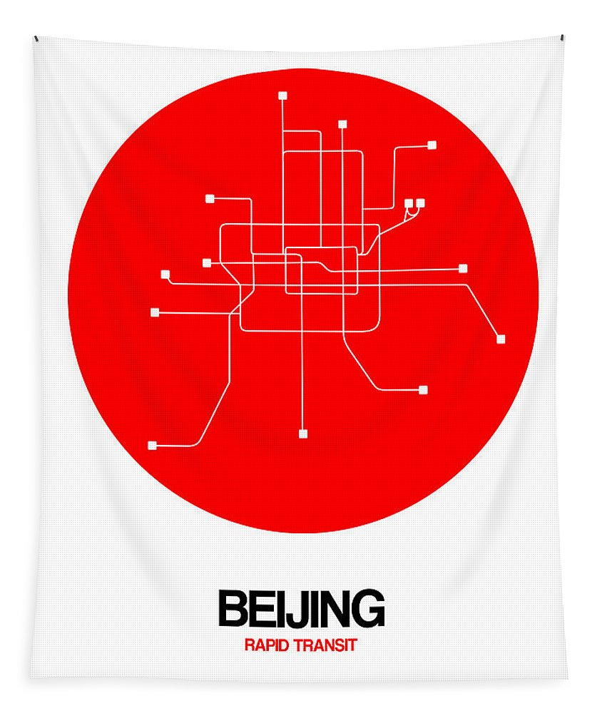 Beijing Tapestry featuring the digital art Beijing Red Subway Map by Naxart Studio