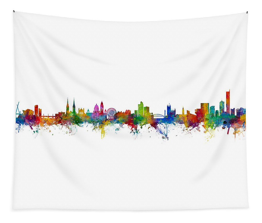 Manchester Tapestry featuring the digital art Belfast And Manchester Skyline Mashup by Michael Tompsett