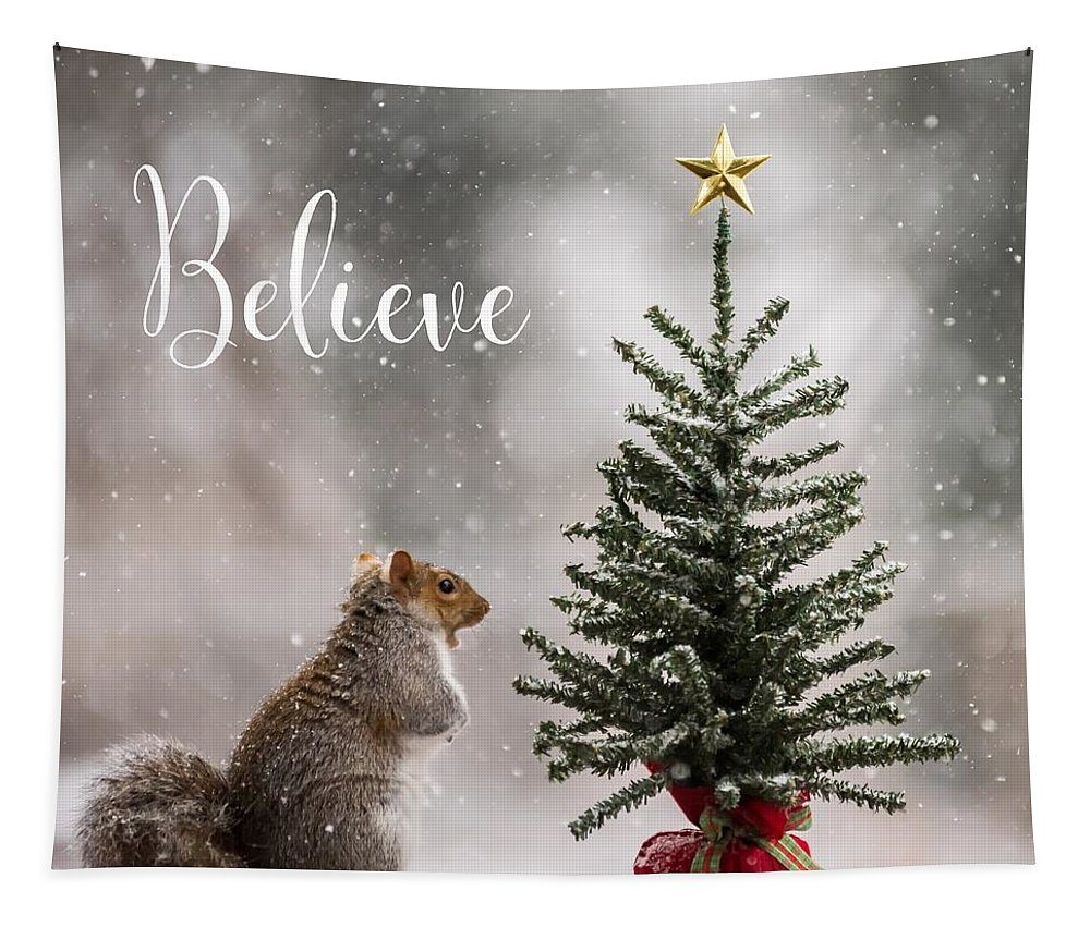 Believe Christmas Tree Squirrel Square Tapestry featuring the photograph Believe Christmas Tree Squirrel Square by Terry DeLuco