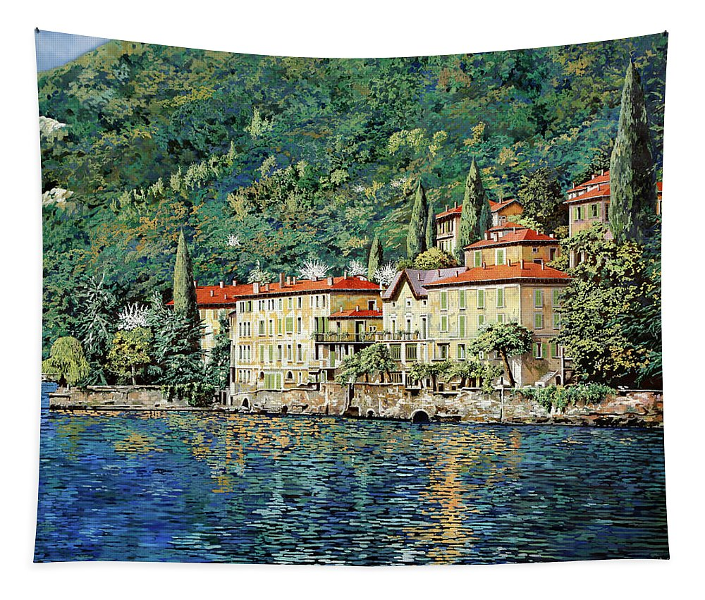 Landscape Tapestry featuring the painting Bellano on Lake Como by Guido Borelli