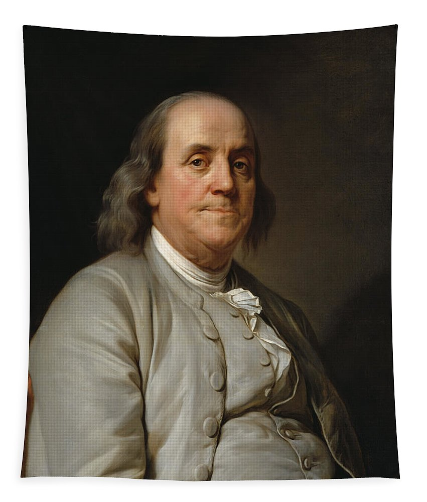 Benjamin Franklin Tapestry featuring the painting Benjamin Franklin Painting - Joseph Duplessis by War Is Hell Store