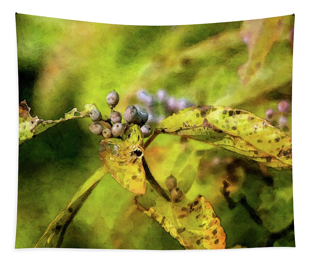 Impressionist Tapestry featuring the photograph Berries And Aging Leaves 5709 Idp_2 by Steven Ward