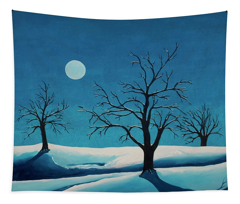 Blue Tapestry featuring the painting Beyond This Moment by Rollin Kocsis