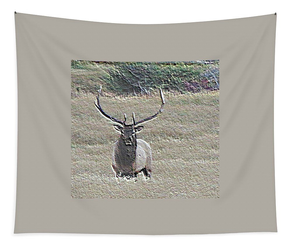 Elk Tapestry featuring the photograph Big Guy by Linda Richardson
