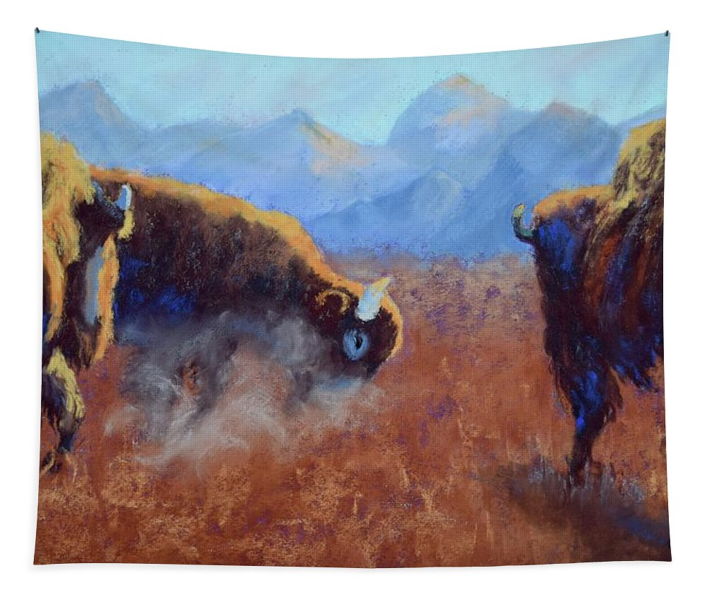 Bison Tapestry featuring the painting Big Thunder by Nancy Jolley