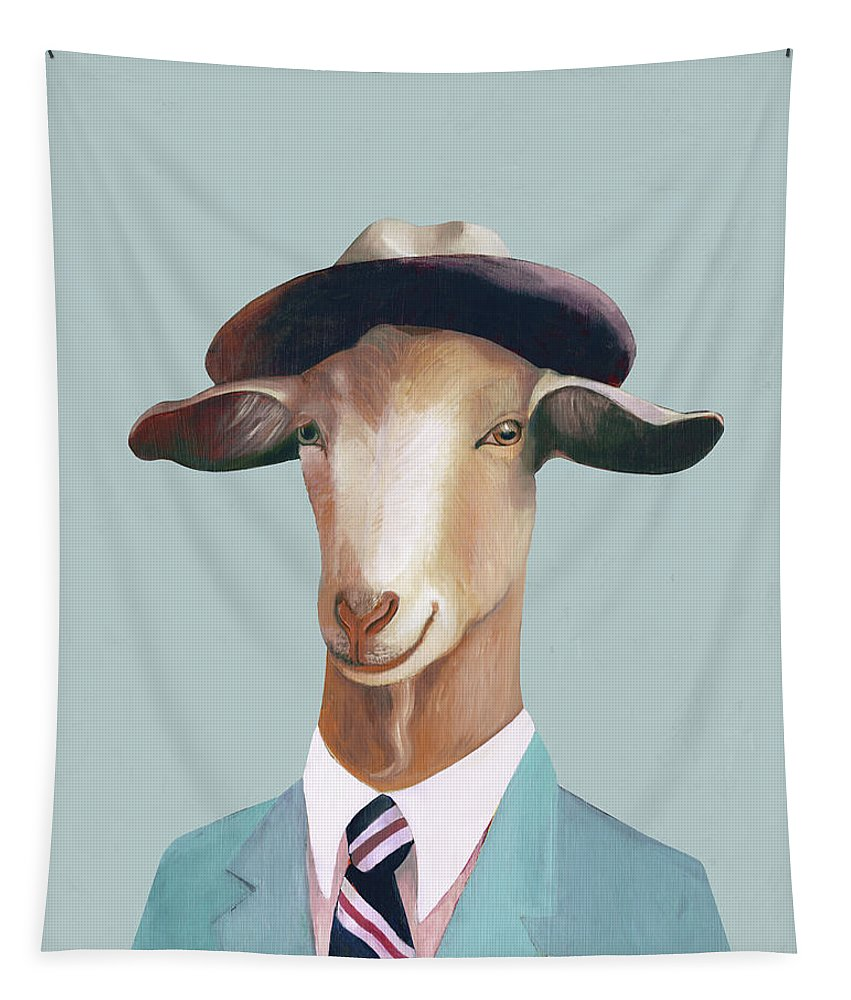 Tapestry featuring the painting Billy Goat by Animal Crew