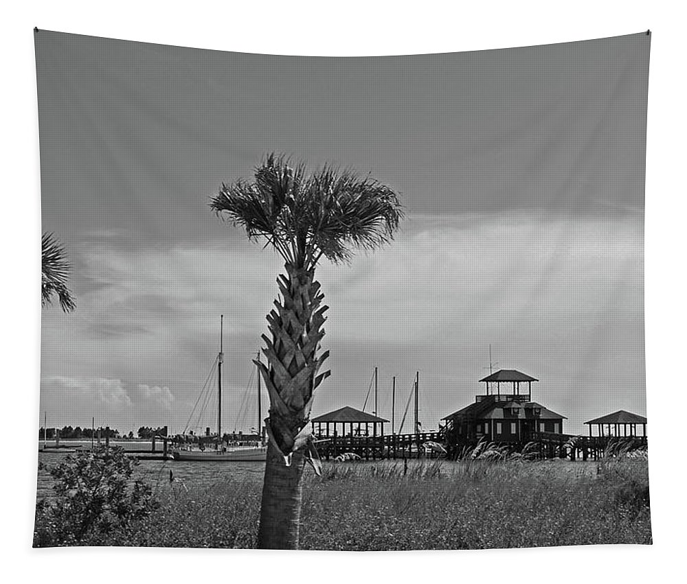 Beach Tapestry featuring the digital art Biloxi Schooner Pier In Black And White by Marian Bell