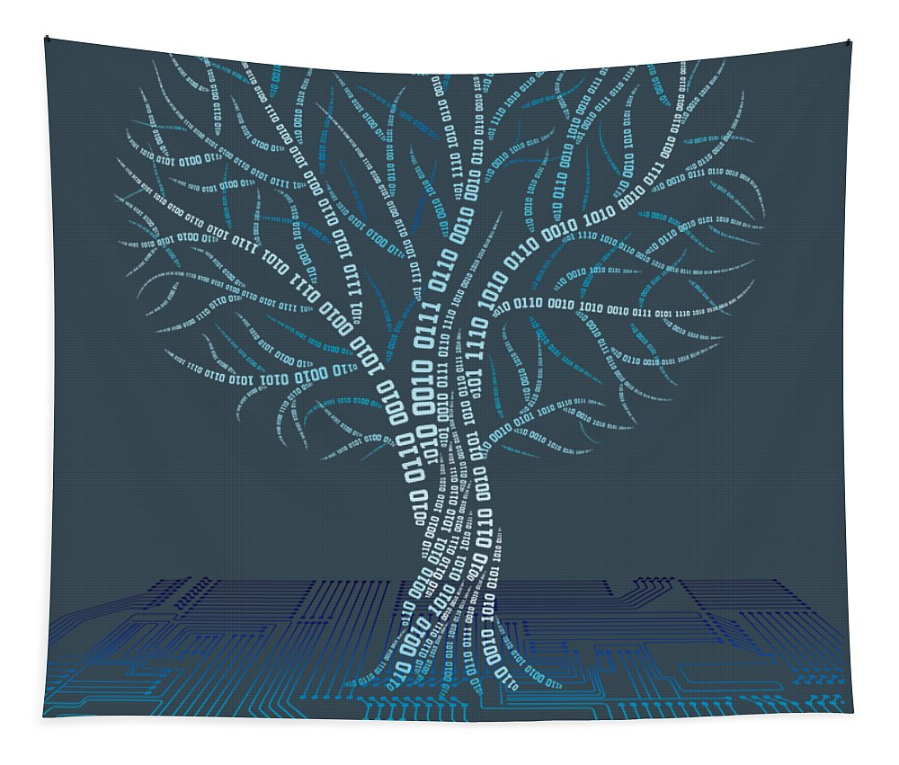 girls' Novelty Clothing Tapestry featuring the digital art Binary Tree Computer Coding T-shirt by Do David