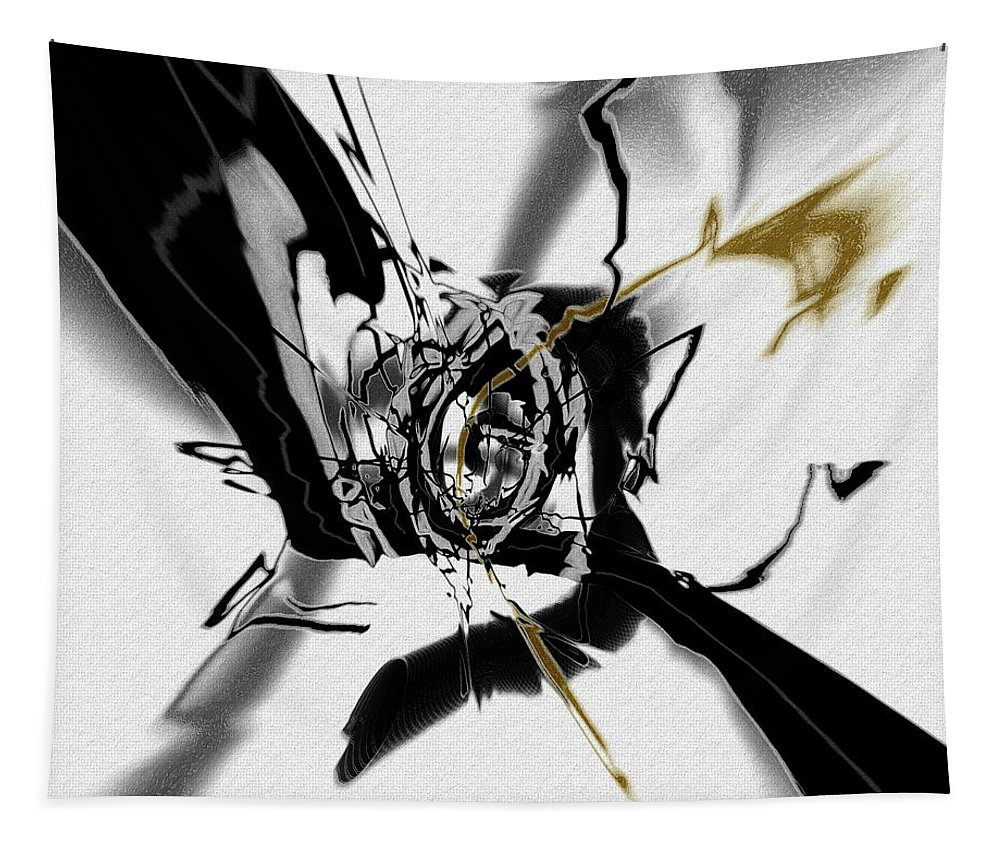 Black Tapestry featuring the digital art Black And White Abstract by Natalie Holland