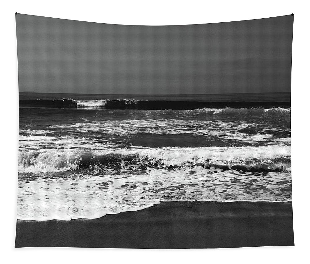 Beach Tapestry featuring the photograph Black And White Beach 4- Art By Linda Woods by Linda Woods