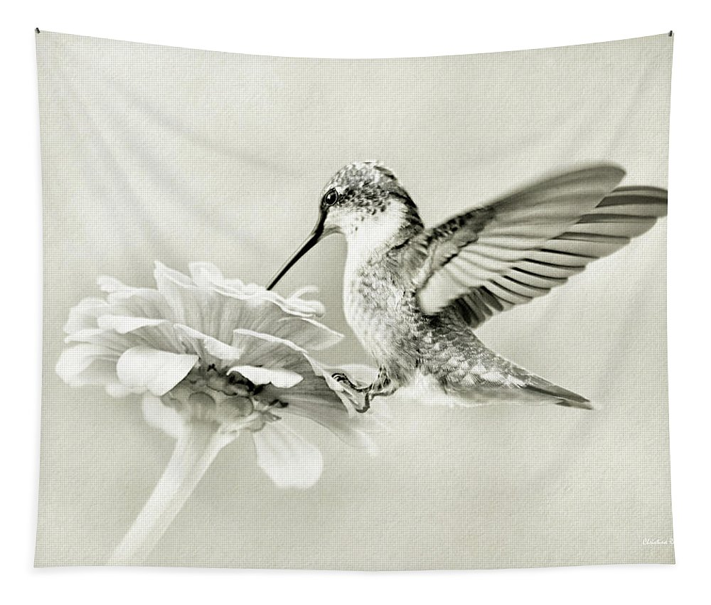 Black And White Tapestry featuring the photograph Black And White Ruby Throated Hummingbird by Christina Rollo