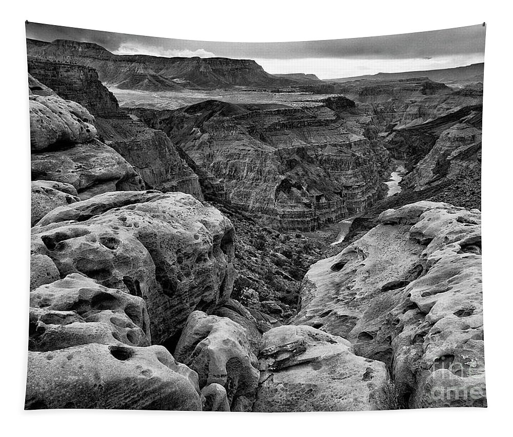 Toroweap Tapestry featuring the photograph Black And White Toroweap by Maria Jeffs