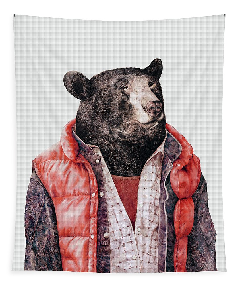 Bear Tapestry featuring the painting Black Bear by Animal Crew