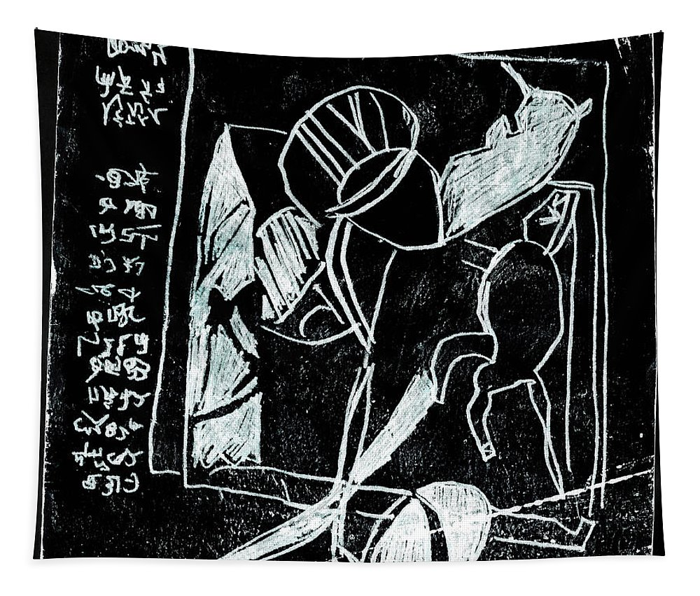 Black Ivory Tapestry featuring the drawing Black Ivory Issue 1b17a by Artist Dot