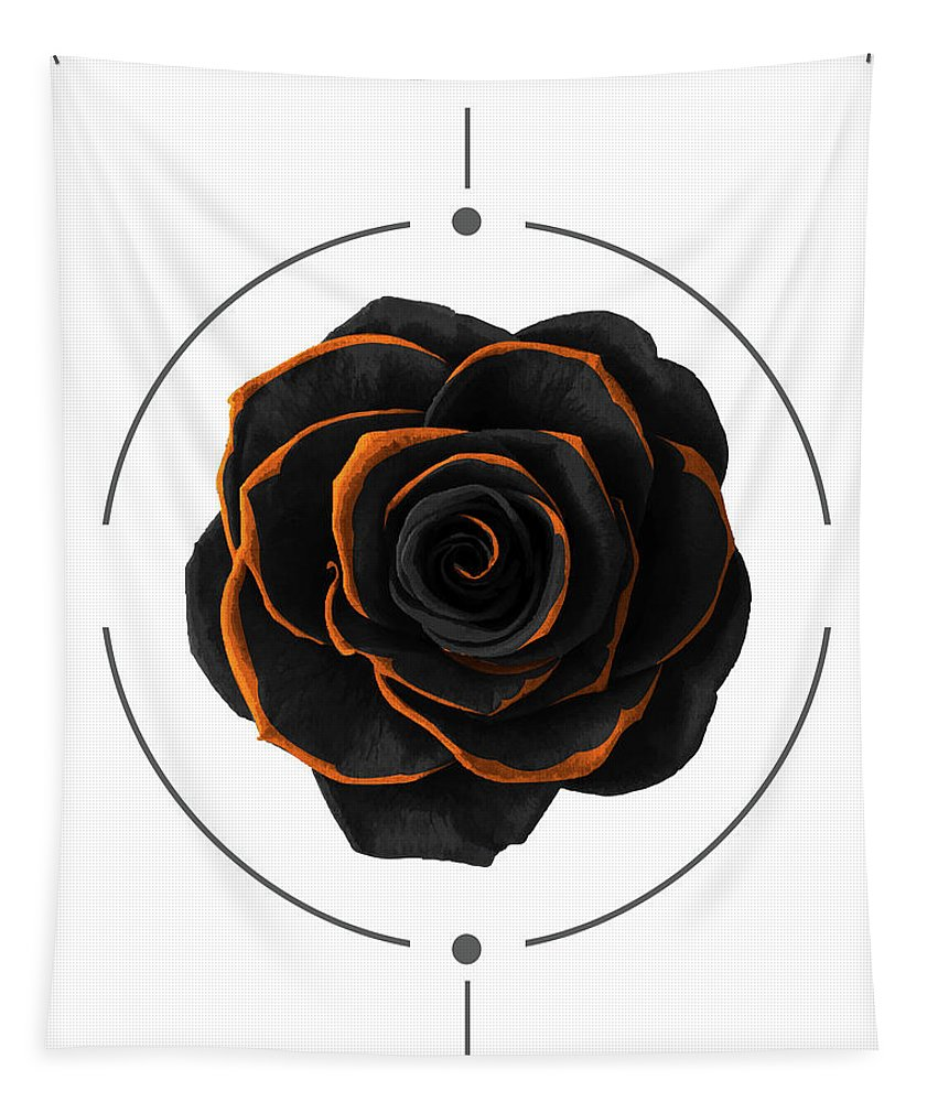 Black Rose Tapestry featuring the mixed media Black Rose - Black And Gold Rose - Death - Minimal Black And Gold Decor - Dark by Studio Grafiikka