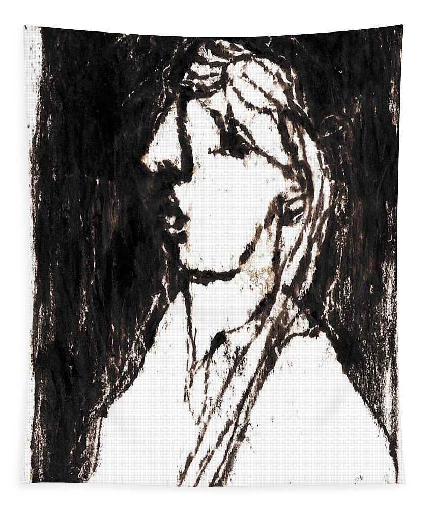 Side Tapestry featuring the drawing Black Side Portrait by Artist Dot