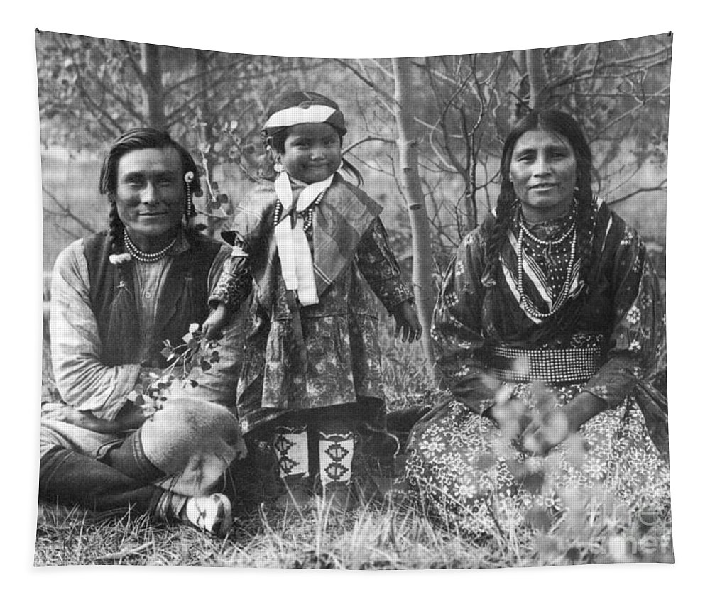 1907 Tapestry featuring the photograph Blackfoot Family, 1907 by Mary TS Schaffer