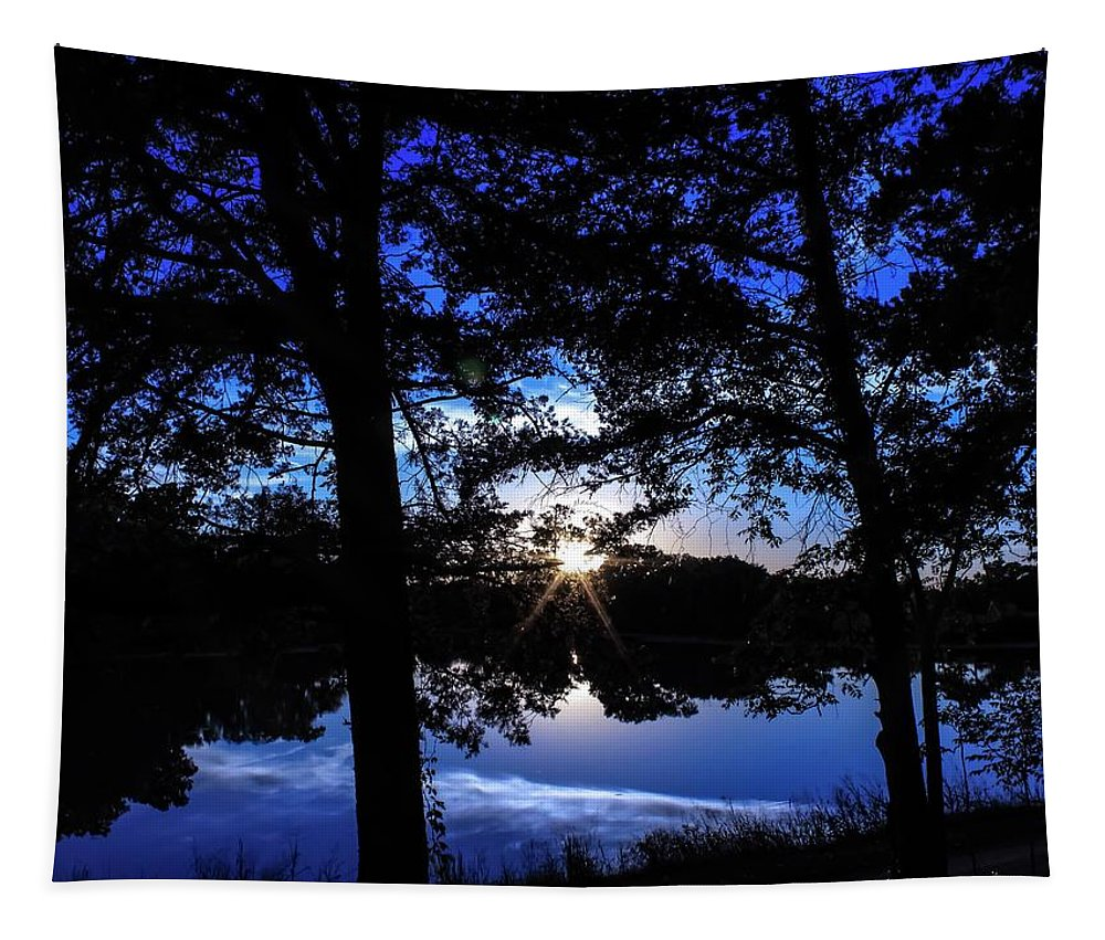 Taken Across The Lake That Sets In Front Of My House Tapestry featuring the photograph Blau by Phillip McGee