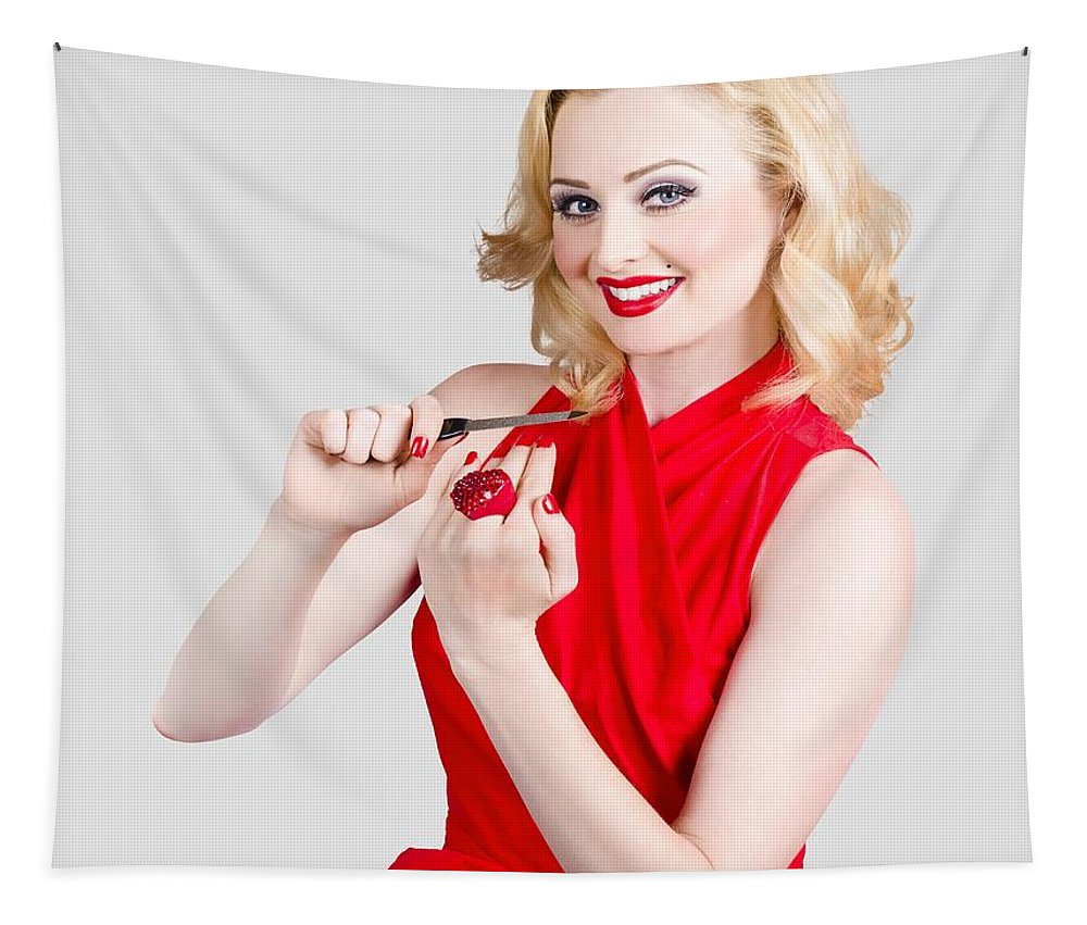 Manicure Tapestry featuring the photograph Blond Pinup Woman In Red Dress Making Manicure by Jorgo Photography - Wall Art Gallery