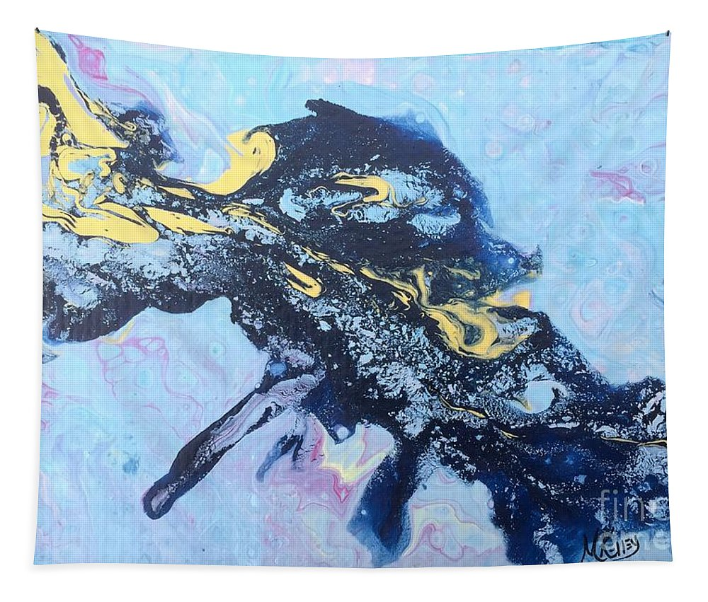 Blue Abstract Painting Tapestry featuring the painting Blue Abstract #3 by Marsha McAlexander