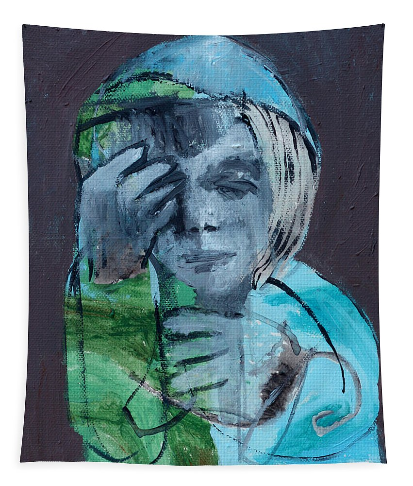 Blue Tapestry featuring the painting Blue Anorak by Edgeworth DotBlog