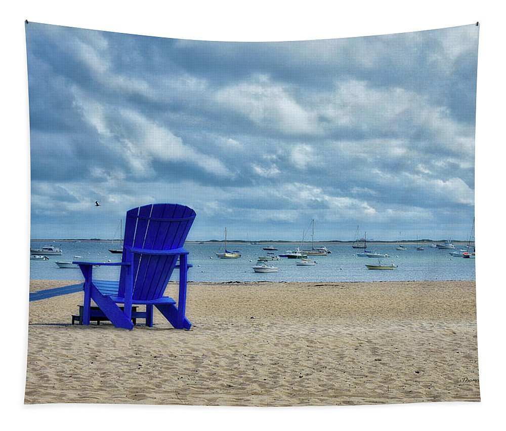 Provincetown Tapestry featuring the photograph Blue Beach Chair Provincetown Cape Cod Massachusetts 01 by Thomas Woolworth