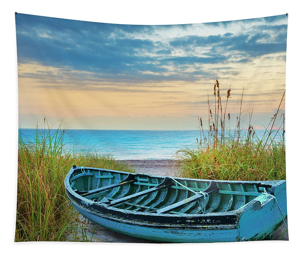 Boats Tapestry featuring the photograph Blue Boat At Dawn by Debra and Dave Vanderlaan