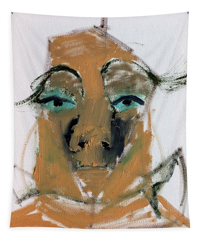 Blue Tapestry featuring the painting Blue Eyed Man by Edgeworth DotBlog