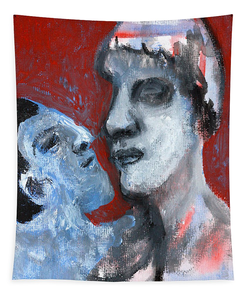 Blue Tapestry featuring the painting Blue Face by Edgeworth DotBlog
