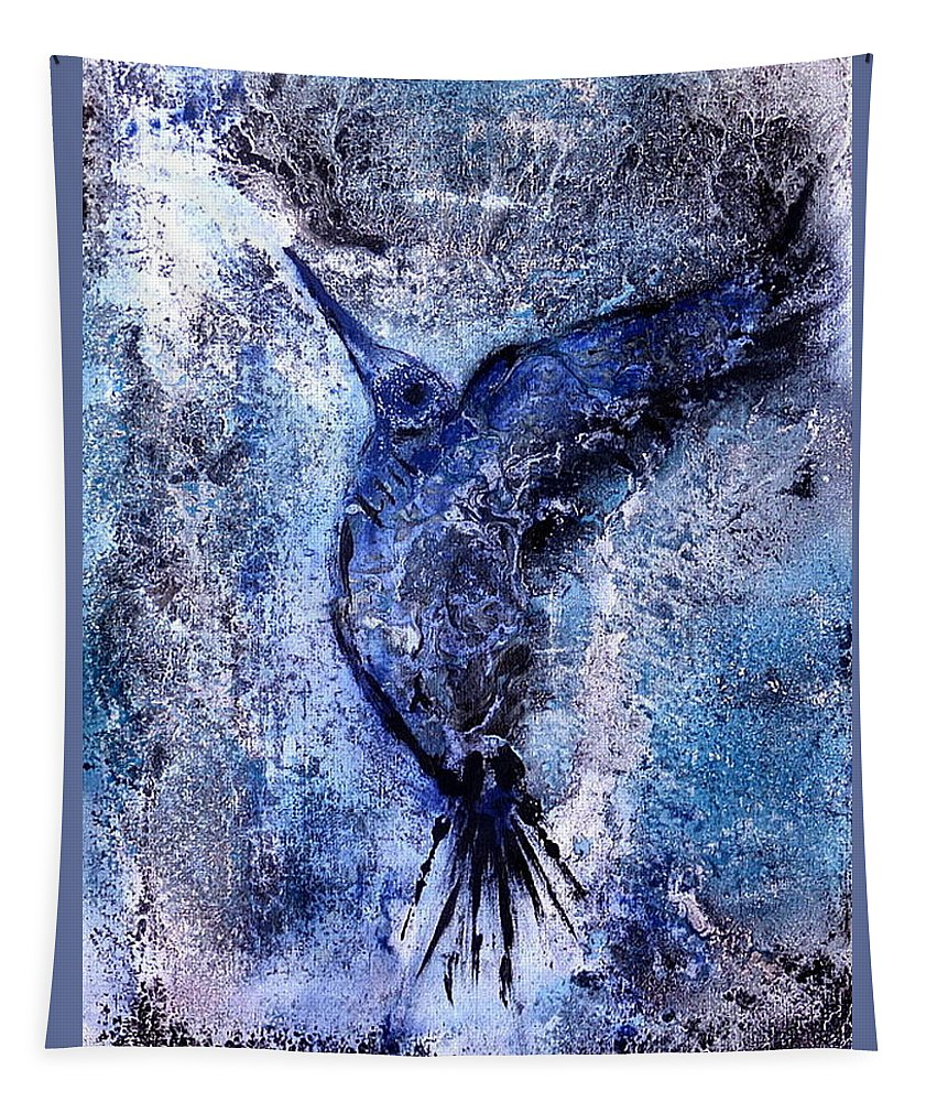 Blue Hummingbird Abstract Tapestry featuring the painting Blue Hummingbird by 'REA' Gallery