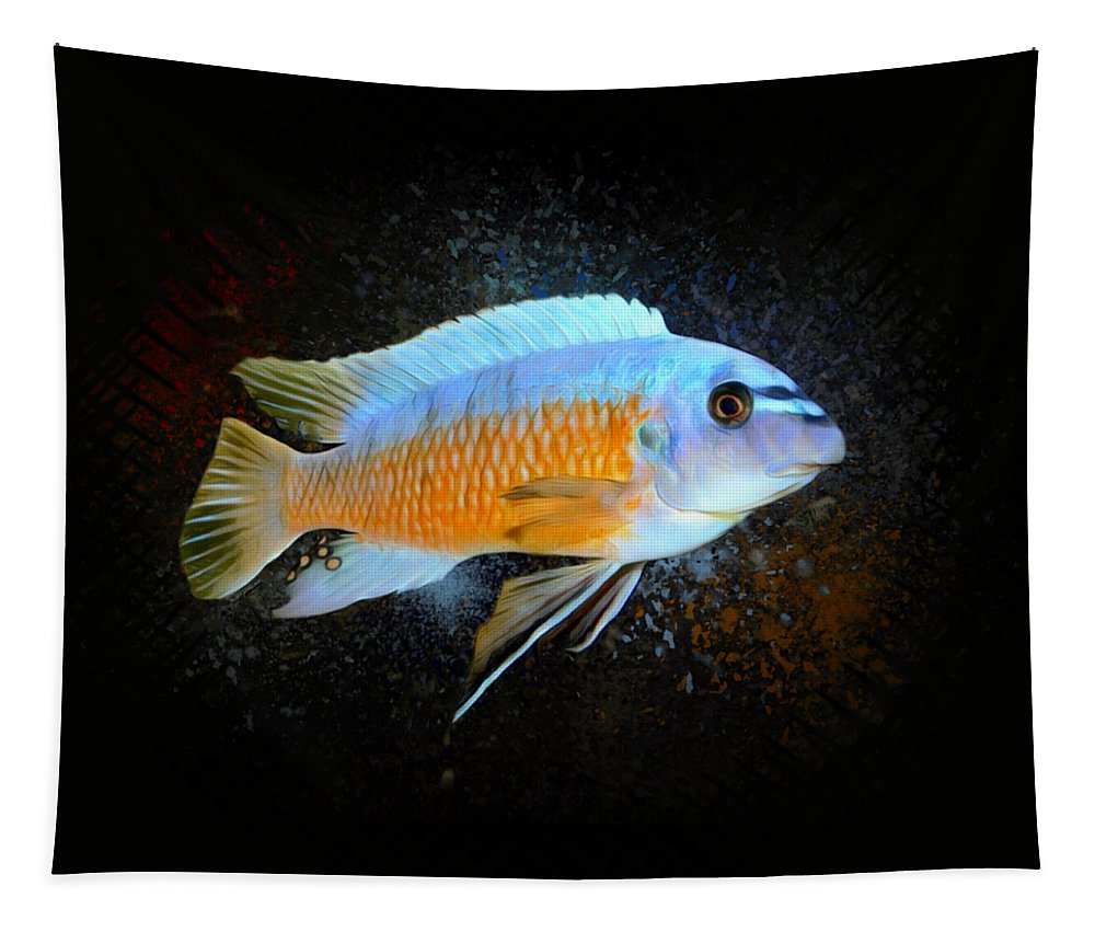 Kenyi Cichlid  Tapestry featuring the digital art Blue Mbuna Cichlid by Scott Wallace Digital Designs