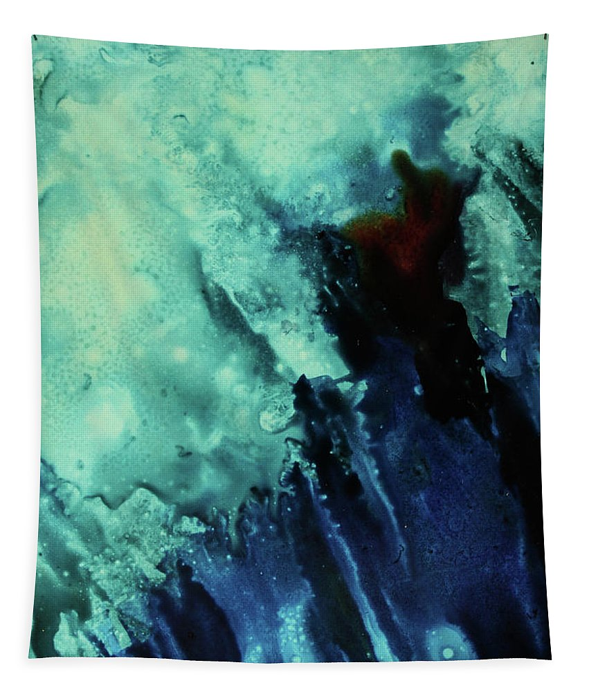 Abstract Tapestry featuring the painting Blue Place II by Jenny Armitage