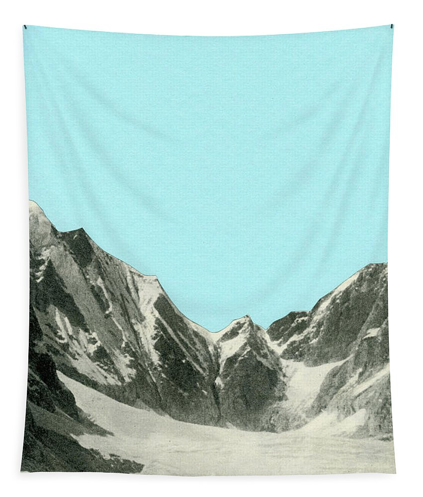 Mountains Tapestry featuring the mixed media Blue Skies by Cassia Beck