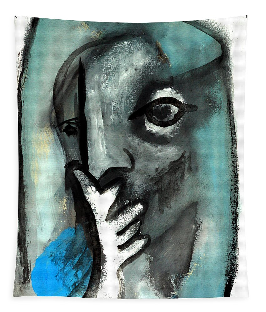 Blue Tapestry featuring the painting Blue Thinker by Artist Dot