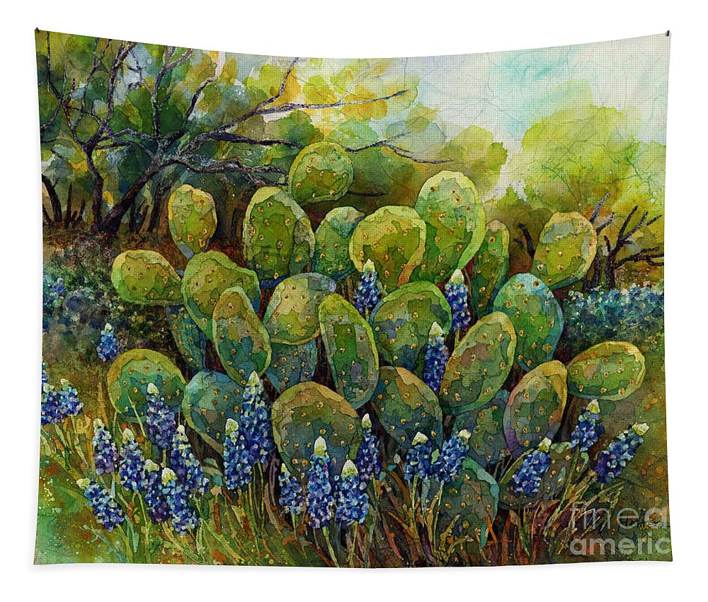 Cactus Tapestry featuring the painting Bluebonnets and Cactus 2 by Hailey E Herrera