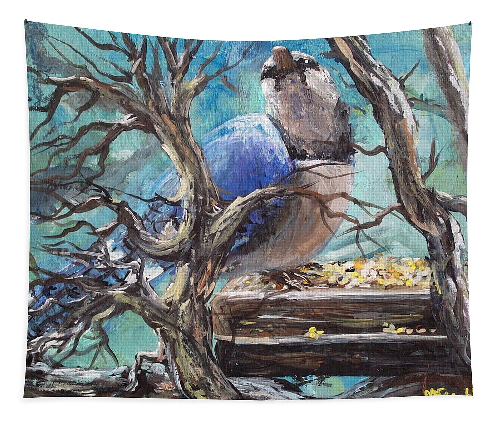 Birds Tapestry featuring the painting Bluejay by Megan Walsh