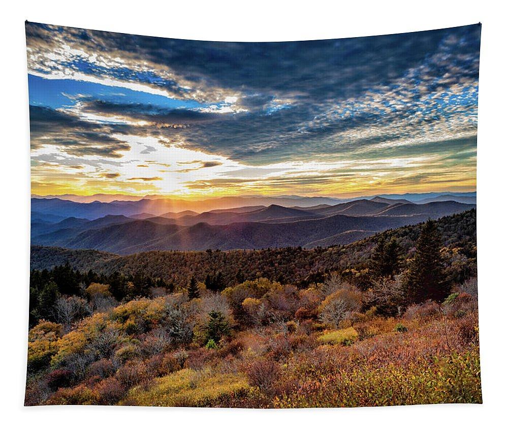 Blueridge Mountains Tapestry featuring the photograph Blueridge Mountain Sunburst by C Renee Martin