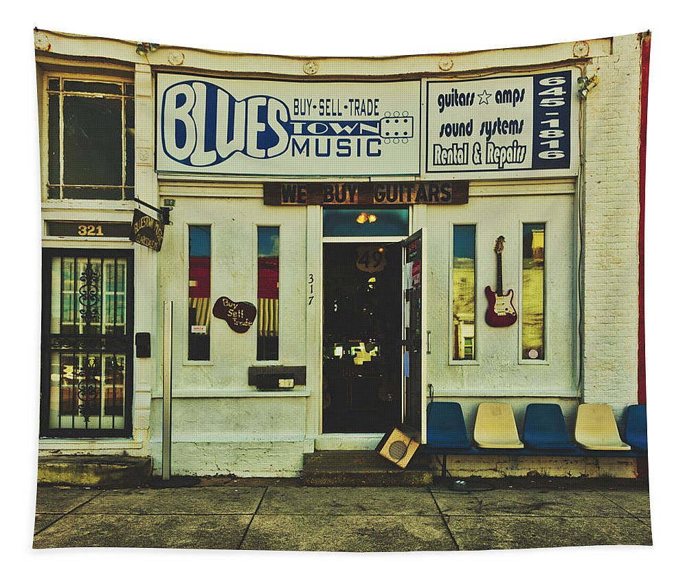 Blues Town Music Store Tapestry featuring the photograph Blues Town Music Store by Mountain Dreams