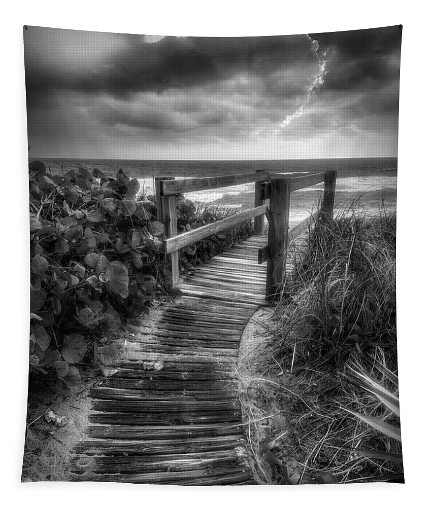 Clouds Tapestry featuring the photograph Boardwalk To The Sea In Radiant Black And White by Debra and Dave Vanderlaan