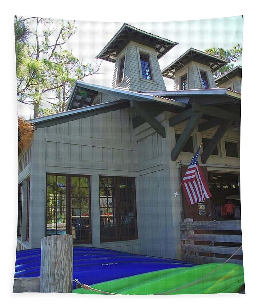 Boathouse Tapestry featuring the photograph Boathouse by Megan Cohen
