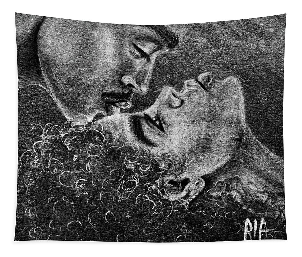 Marriage Tapestry featuring the drawing Bone of my Bone by Artist RiA