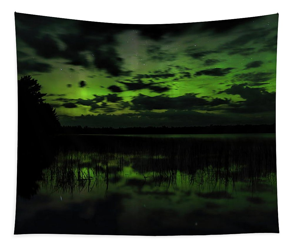 Aurora Borealis Tapestry featuring the photograph Boot Lake Green And Purple Northern Lights by Dale Kauzlaric