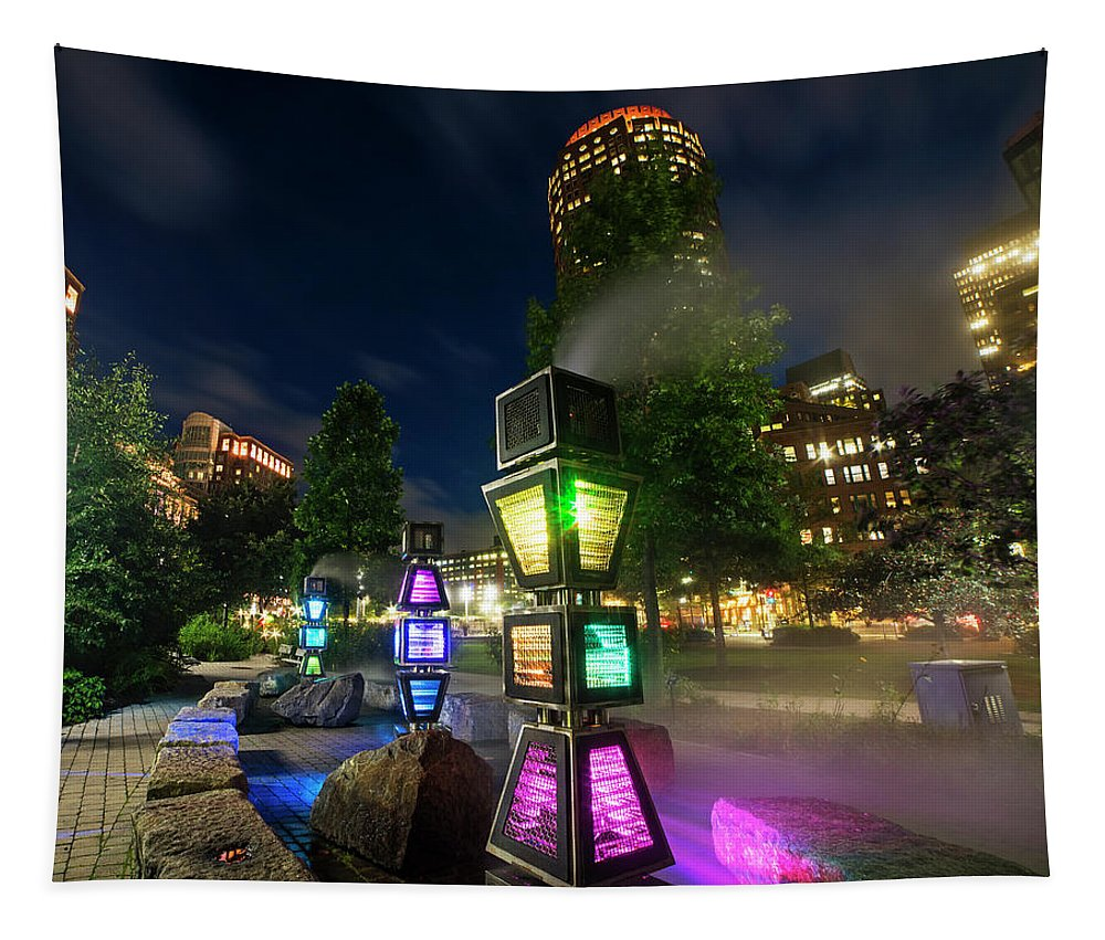 Boston Tapestry featuring the photograph Boston Colored Steam Lights Boston Ma Rose Kennedy Greenway Steamy by Toby McGuire