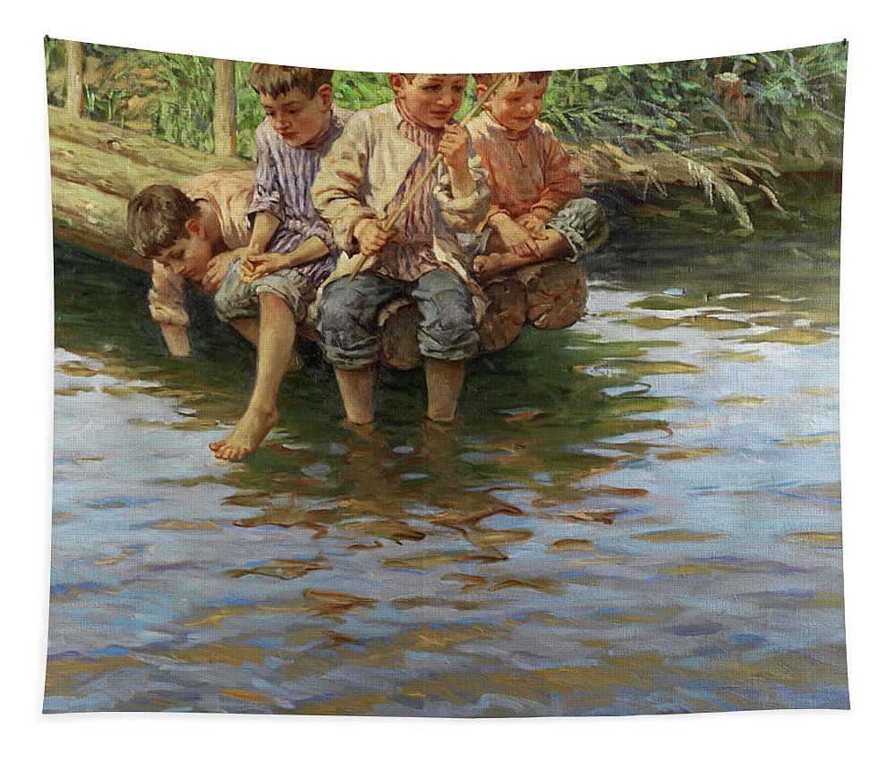 Fishing Tapestry featuring the painting Boys Fishing by Nikolay Bogdanov-Belsky