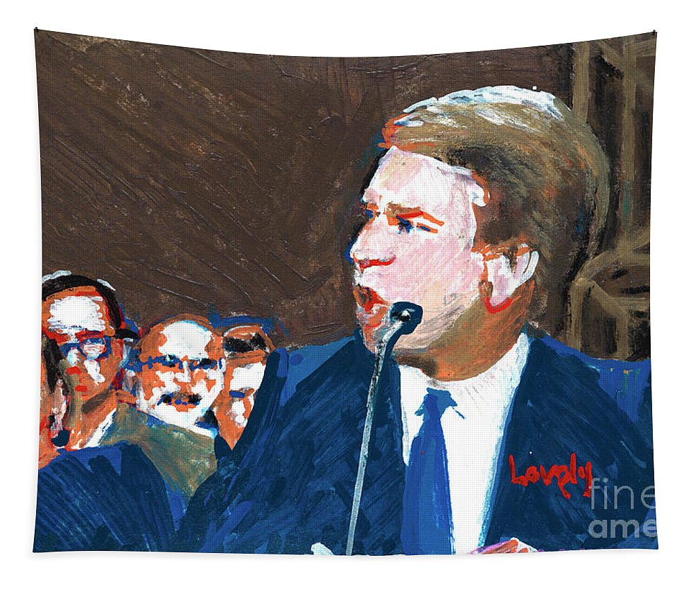 Christine Blasey Ford Testifies Before Senate Tapestry featuring the painting Brett Kavanaugh Testifies Before Senate by Candace Lovely